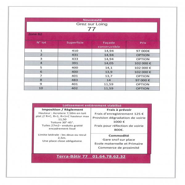 Offres de vente Terrain Grez-sur-Loing 77880